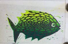 "Linoleum block print ""Green Fish"""