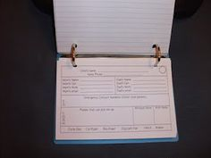 Free Parent contact index cards - sent home first day of school...students bring them back and place in a binder.