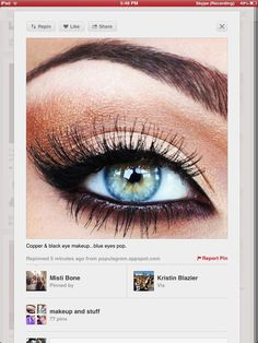 This makeup looks beautiful on blue eyes. Lashes are great too. #Latisse