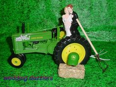 NO FARMING JOHN DEERE TRACTOR Bride & Groom WEDDING CAKE TOPPER ...
