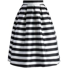 Chicwish Stripes Full A-line Midi Skirt (830 CZK) ❤ liked on Polyvore featuring skirts, bottoms, saias, stripes, black, striped a line skirt, pleated a line skirt, pleated skirt, mid calf skirts and striped skirts