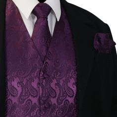 Dark Purple Men Paisley Tuxedo Dress Vest Waistcoat & Necktie, Bowtie And Hanky Tuxedo Dress, Tuxedo Suit, Tuxedo For Men, Women Tuxedo, White Tuxedo, Tuxedo Wedding, Wedding Suits, Wedding Dresses, Prom Tuxedo