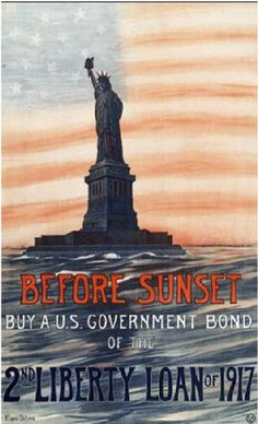 American propaganda poster encouraging the public to buy war bonds. The statue is liberty is depicted.