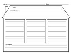 Paragraph Writing Graphic Organizer - House Teaching Writing, Writing Skills, Writing Graphic Organizers, Topic Sentences, 2nd Grade Writing, Paragraph Writing, Main Idea, Student Learning, Special Education