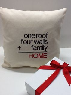 This #custom #embroidered 'Home Equation' Pillow Makes great #housewarming or #realtor #closing #gift. By #WickedStitchesGifts