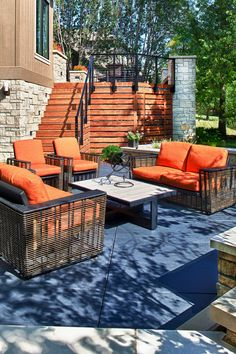 What a dreamy outdoor look! Those colors are fabulous! (BEHR PREMIUM® Solid Color Concrete Stain is a durable product designed to help protect and enhance both exterior and interior concrete surfaces. Outdoor Spaces, Outdoor Decor, Stained Concrete, Needful Things, Behr, Outdoor Projects, Landscapes, Backyard, Exterior