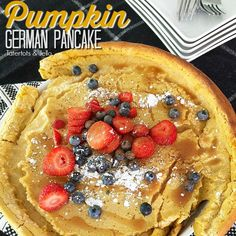 Giant Pumpkin German Pancake, also known as Pumpkin Dutch Babies. Delight your breakfast or brunch guests with a puffy, fragrant and pumpkin pancake. Oven Pancakes, German Pancakes, Pumpkin Pancakes, Pumpkin Foods, Pumpkin Puree, Pumpkin Recipes, Best Brunch Recipes, Fall Recipes, Breakfast Recipes