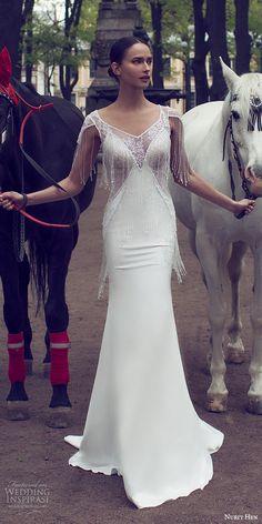 nurit hen 2016 bridal cap sleeve sweetheart neckline illusion vneck sheath fringe beaded bodice wedding dress sexy (04) fv