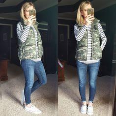 camo vest, striped shirt