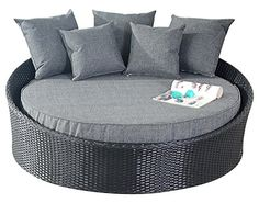 port royal prestige rattan garden furniture daybed sun lounger black