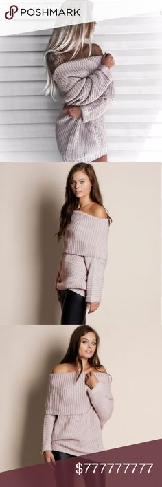 COMING SOONThe Jenny Sweater 5% off bundles+5% cashback through IBOTTA  (please use referral code wjpidcs)  Beautiful for fall and winter Very High Quality Mauve off the shoulder sweater Price: $59 Model is wearing the exact product Price firm. No offers please. Sweaters