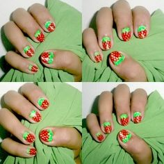 Make a strawberry design as nail art