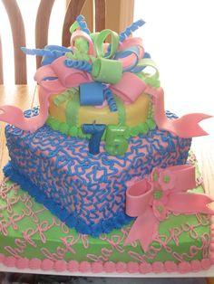 75th birthday cake ideas | 75th Birthday deserves a big cake!! The bows and flowers are fondant ...