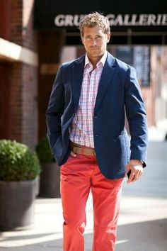 Men's Tan Canvas Belt, Navy Blazer, White and Pink Plaid Dress Shirt, and Red Chinos