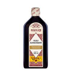 Zimnotłoczony olej słonecznikowy - wysoka jakość, świeżość, tłoczony z wielokrotnie przebadanego surowca. Sauce Bottle, Vodka Bottle, Bottle Opener, Barware, Oil, Arnica Montana, Butter, Tumbler