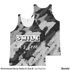 Motivational Quote Smile it`s free Black Tank top   #tanktop #sportstop #top #black