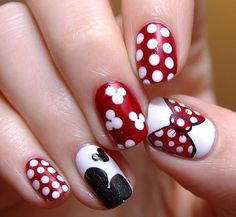 Who doesn't like Polka Dots? Properly assuming that you simply love polka dot nail designs, right here's a bouquet of polka dot nails that may encourage you and allow you to get one. Disney Nail Designs, Dot Nail Designs, Simple Nail Art Designs, Best Nail Art Designs, Easy Nail Art, Nails Design, Mickey Mouse Nail Design, Minnie Mouse Nails, Dot Nail Art
