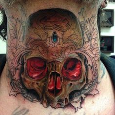 Glowing Skull Neck Tattoo | Best tattoo design ideas