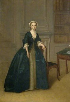 Portrait of a woman in dark blue gown dyed with indigo, by Arthur Devis, c. 1750