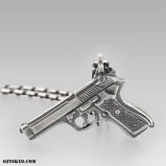 Suicide Necklace « An Original Oz Abstract Tokyo charm; Suicide is dexterously hand carved in the likeness of a hand gun from fine sterling silver. Online Boutiques, Hand Guns, Hand Carved, Tokyo, Chokers, Carving, Pendants, Pendant Necklace, Sterling Silver