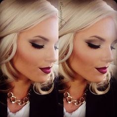 Matte Neutral Eye Makeup - Cat Eyeliner - Dark Red Ombre Lips - Fall Makeup