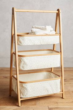 Anthropologie Three-Tier Bamboo Storage Shelf