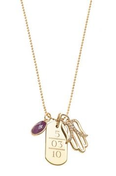 """Signature Engravable ID Tag Gold with 30"""" Gold Faceted Ball Chain - Stella & Dot"""