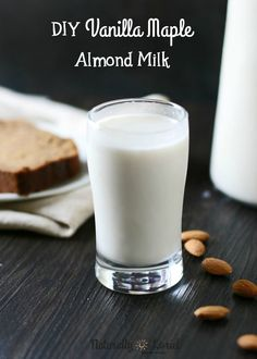 This DIY almond milk contains the perfect water-to-almond ratio and is naturally sweetened with real maple syrup and vanilla. So yummy!