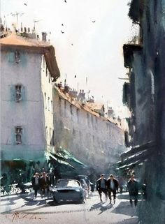 Joseph Zbukvic : is one of the finest master watercolor painters in the world; his watercolor painting instruction workshops sell out w. Watercolor City, Watercolor Artists, Watercolor Landscape, Watercolour Painting, Watercolours, Urban Landscape, Landscape Art, Landscape Paintings, Landscapes
