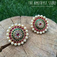 silver with gold plated stud are studded with semi precious stones and pearl beads. Gold Jhumka Earrings, Silver Earrings Online, Jewelry Design Earrings, Gold Jewellery Design, Ear Jewelry, Antique Earrings, Silver Jewellery, Necklace Designs, Schmuck Design