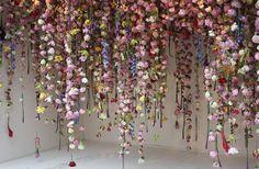 beautiful paper flowers hanging garland