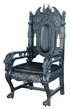 Exceptionnel Two Very Ornate Throne Like Armchairs. One Is Black Lacquered Wood With  Black Padding, The Other Brown Lacquered Wood With Redu2026