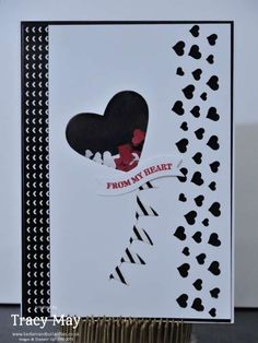 stampin up uk independent demonstrator Tracy May Confetti Hearts punch card making ideas Valentines