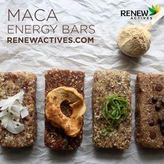 5 Maca Energy Bar Recipes (The Mommypotamus) Dried Apples, Cinnamon Apples, Real Food Recipes, Bar Recipes, Baking Recipes, Vegetarian Recipes, Snack Recipes, Yummy Food, Healthy Recipes
