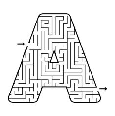 Printable Maze in the shape of letter A. Kids love mazes, and letter shaped mazes also help with learning the alphabet Letter Worksheets, Writing Worksheets, Preschool Worksheets, Letter A Coloring Pages, Coloring Pages For Kids, Mazes For Kids Printable, Kids Mazes, Free Printable, Letter Maze