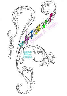 """HeartKey"" Tattoo Design by Denise A. Wells by ♥Denise A. Wells♥, via Flickr"