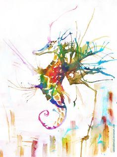 Rainbow Seahorse by =Sabinalibertad on deviantART