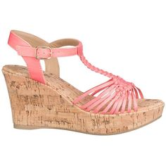 maurices Dahlia Woven Wedge In Apricot Sizzle (23 CAD) ❤ liked on Polyvore featuring shoes, sandals, wedges, pink, elastic sandals, slip-on shoes, pink platform sandals, cork wedge sandals and wedge heel sandals