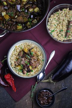Farro recipe included Tunisian Lamb-and-Eggplant Stew with Farro, Parsley, & Harissa - Katie at the Kitchen Door