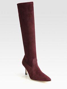 Manolo Blahnik - Pascalare Suede Knee-High Boots - Saks.com