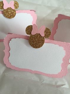Pink/gold Minnie mouse food labels. Pink by sprinkledprettyparty