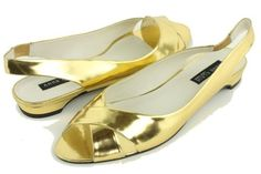 Anne Klein Women's Amberlyn Leather Slingback Slide, Gold, 7.5M -- Click image for more details.