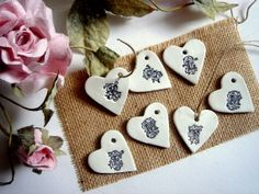 50 Wedding  Favor Hearts MonogramPersonalized Clay by accessory8, $40.00