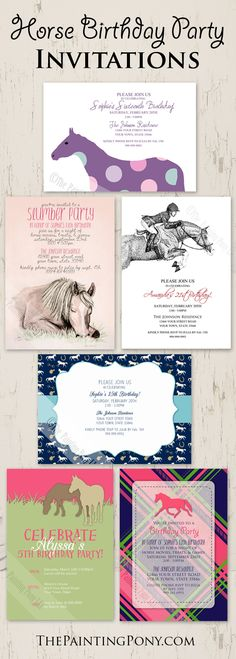 collection of HORSE birthday party invitations - perfect invites for the equestrian themed pony parties from little girls to 21st birthdays! <3