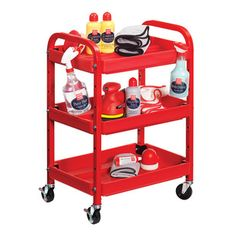 Griot's Garage has items for the enthusiast who is meticulous about their vehicle. This red steel compact detailing cart is the perfect accessory for a workshop or garage.