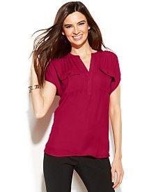 INC International Concepts Dolman-Sleeve Mixed-Media Utility Shirt