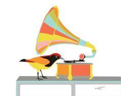 Music art print  Gramophone  musical instrument by PragyaK on Etsy, $20.00