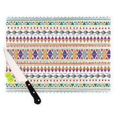 KESS InHouse Native Fiesta Cutting Board #kess #kessinhouse #nika #nikamartinez #cutting #board #tribal #native #hippie #indie #chic #emerald #triangles #abstract #pattern #colorful #trendy #navajo #kitchen #accesories #gift #christmas