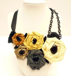 Bib Necklace with Rolled Fabric Roses from CraftsUnleashed.com