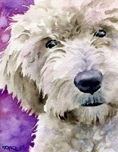 """""""Goldendoodle"""" Dog Art Print By Artist Dj Rogers"""